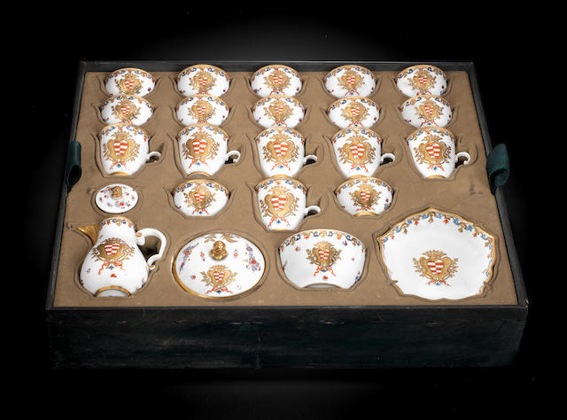 A very rare Meissen armorial coffee and tea service with the arms of Taparelli, circa 1735-40