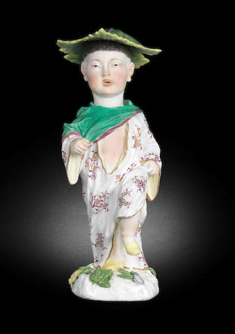 A Meissen nodding figure of a Chinese boy, circa 1755