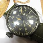 Laco. A nickel plated manual wind German military issue pilot's observation wristwatchRef:FL23883, Movement No.15525, Circa 1940