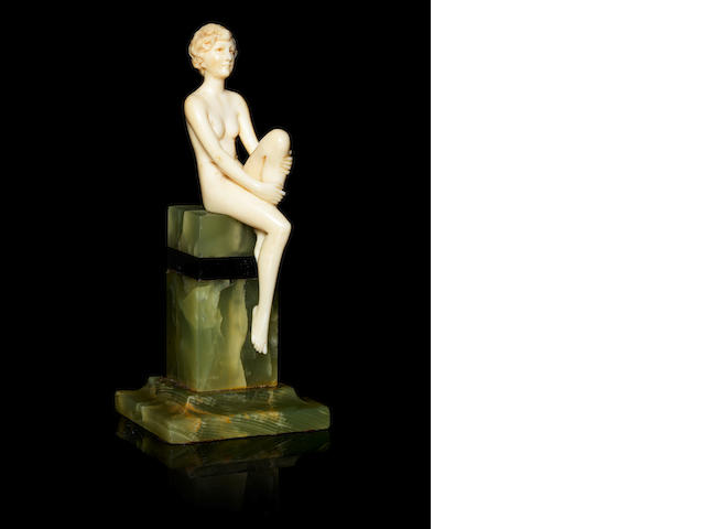 Ferdinand Preiss a Carved Ivory Figure of a Female Nude, circa 1920
