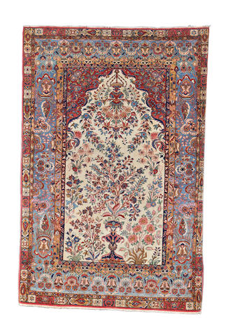 A pair of Kurk Kashan prayer rugs, Central Persia, 216cm x 144cm (2)