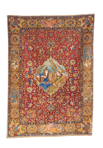 A Tabriz rug, North West Persia, 191cm x 138cm signed 'Hafez'