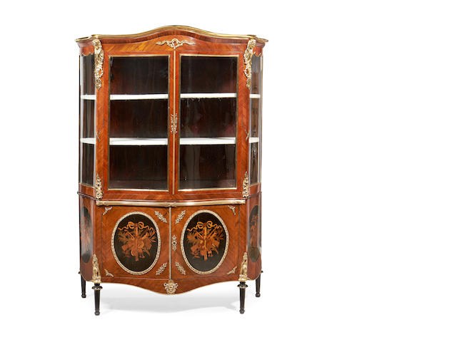 A good 19th century kingwood and ormolu mounted display cabinet
