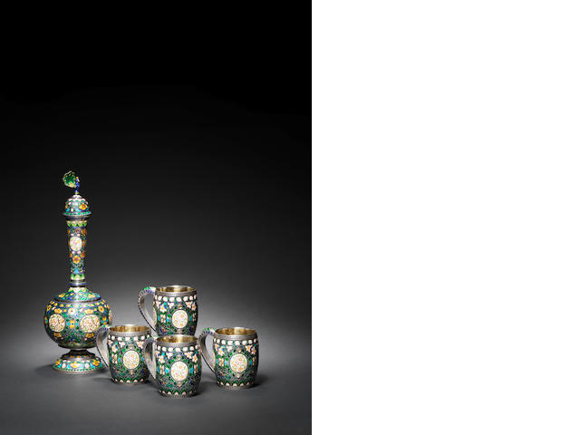 A silver enamelled drinks set, Jaipur/Lucknow, late 19th/ early 20th Century (5)