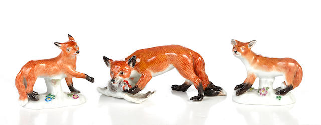A 20th Century Meissen model of a fox