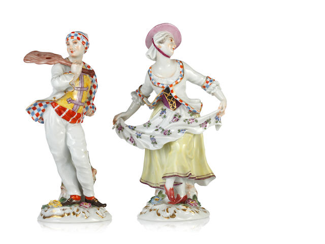 A pair of 20th Century Meissen figures