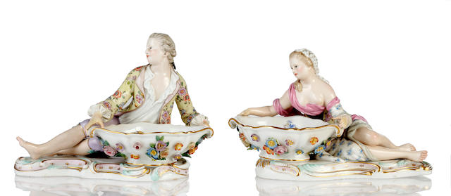 A pair of late 19th Century Meissen figural salts