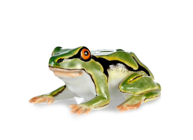 A late 19th Century Meissen model of a frog