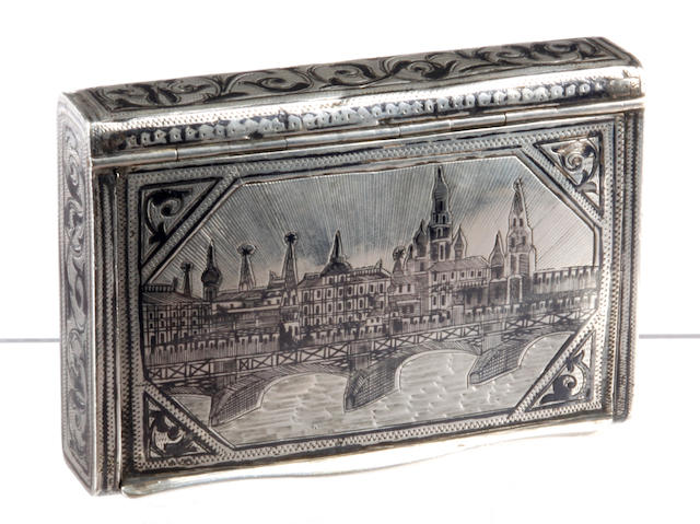 A Russian silver niello work snuff box