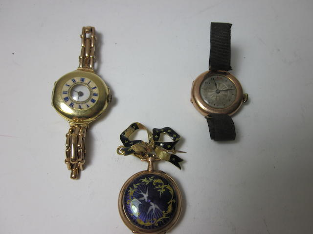 A lady's enamel fob watch,   (3)