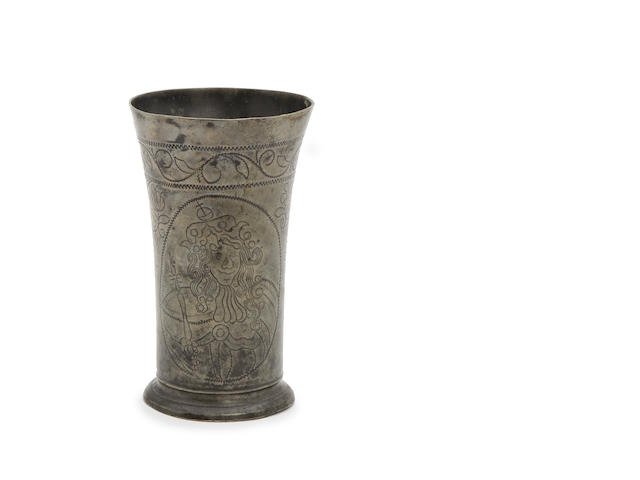 A late 17th century large pewter wrigglework beaker decorated with portraits of William and Mary, Dutch, circa 1690