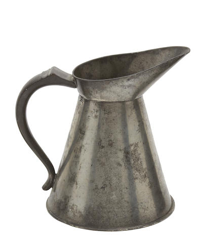 An early 19th century Jersey pint conical spouted pewter measure