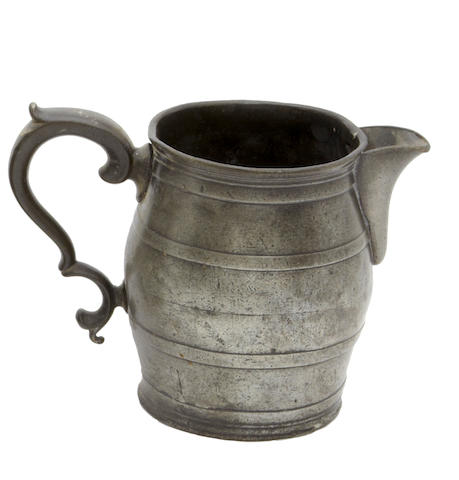 A barrel spouted pewter measure, circa 1830