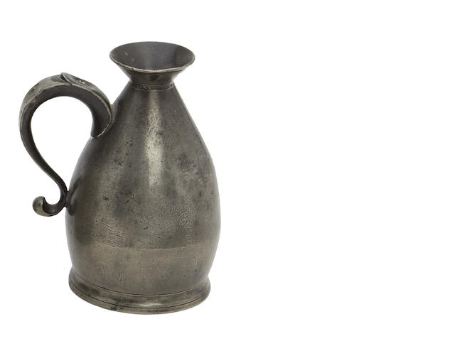 A West Country pint pewter harvester measure, circa 1800