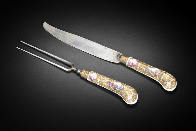 A Meissen knife and fork  circa 1745