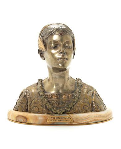 Roland Colombo Grange 'Grande Dame Patricienne Florentine Au XV1ene Siecle' a Bronze Bust, circa 1900