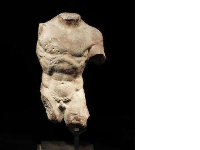 A late Hellenistic or early Roman marble male figure