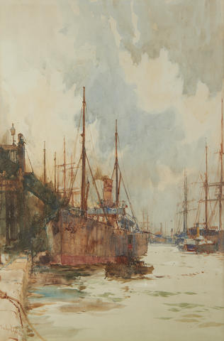 Charles Edward Dixon (British, 1872-1934) The Docks