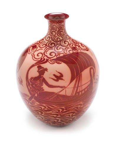 Pilkington Flambe vase with ships