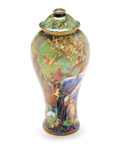 Daisy Makeig-Jones for Wedgwood 'Rainbow' a Rare Fairyland Lustre Vase and Cover, circa 1920