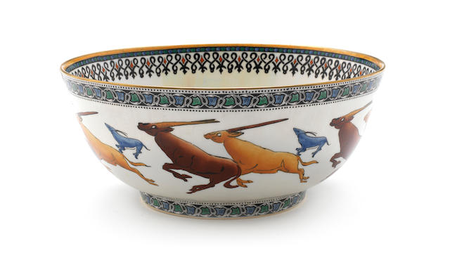 Daisy Makeig-Jones for Wedgwood 'Leaping Chamois' a Scarce Lustre Imperial Bowl, circa 1925