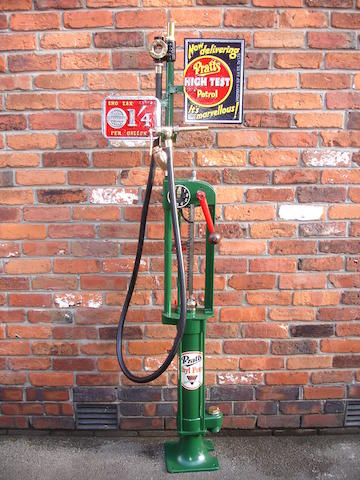 A 'One Gallon' Bowser hand-cranked petrol pump, English made,