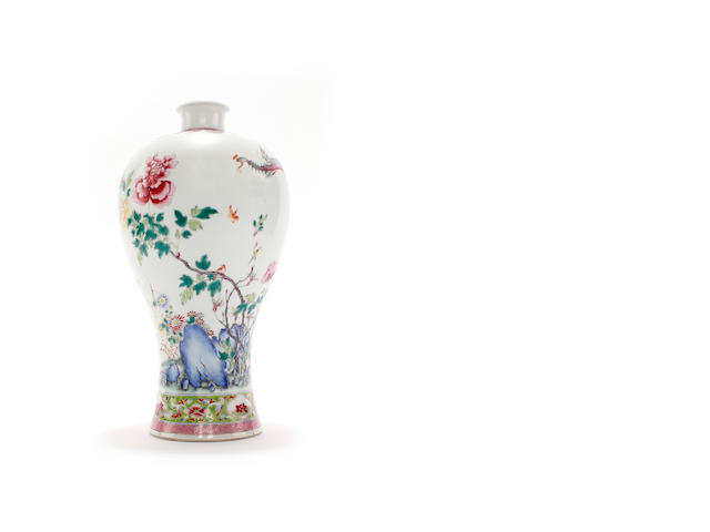 A Chinese Meiping famille rose vase