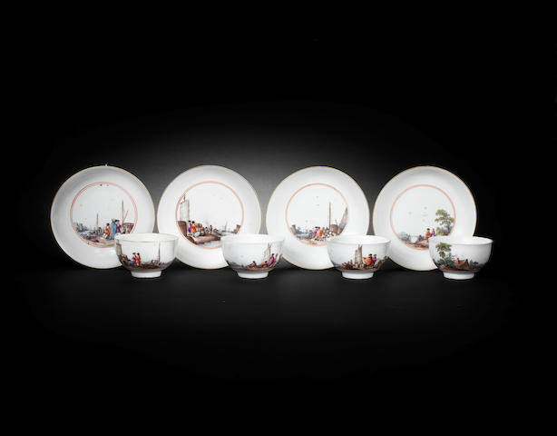 Four Meissen teacups and saucers, circa 1745
