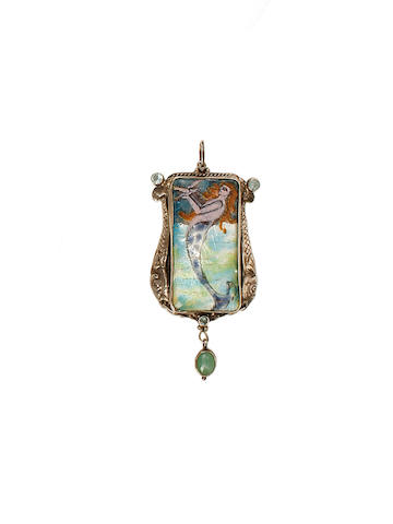 George Hunt an Enamel, Agate and Paste Pendant