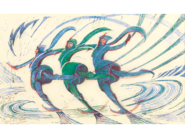 Cyril Edward Power (British, 1872-1951) Skaters Linocut printed in spectrum red, light cobalt blue and viridian, c.1932, on buff oriental laid tissue, signed, titled and inscribed 'EP No.6' in pencil, a proof aside from the edition of 60, with a pen inscription in lower margin 'E.Power presented to Vera Water ..1944', 198 x 316mm (7 3/4 x 12 3/8in)(B)