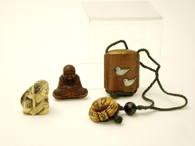 An inro and three netsuke Meiji/Taisho