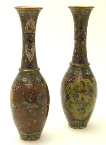 A pair of cloisonné  vases Meiji