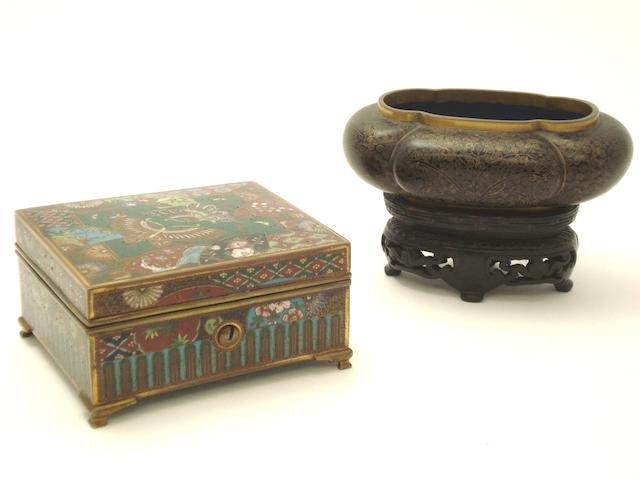 A cloisonné box and small lobed bowl Meiji