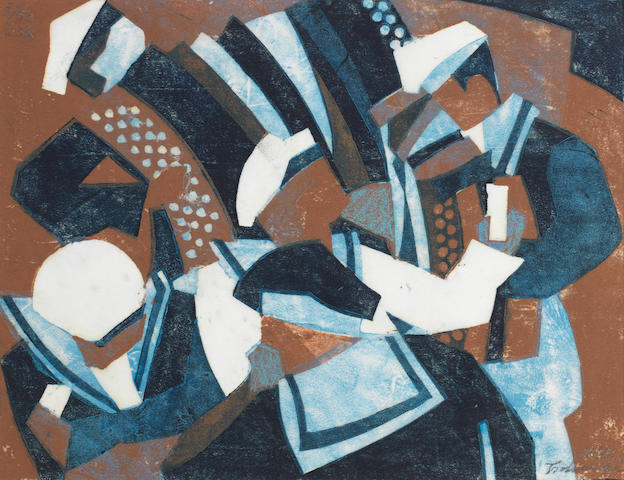 Lill Tschudi (Swiss, 1911-2001) Sailor's Holiday Linocut printed in dark blue, light brown and light blue, 1932, on thin off-white oriental laid, signed, inscribed 'USA' and numbered 6/50 in pencil, with margins, 200 x 260mm (8 x 10 1/4in)(B)(unframed)