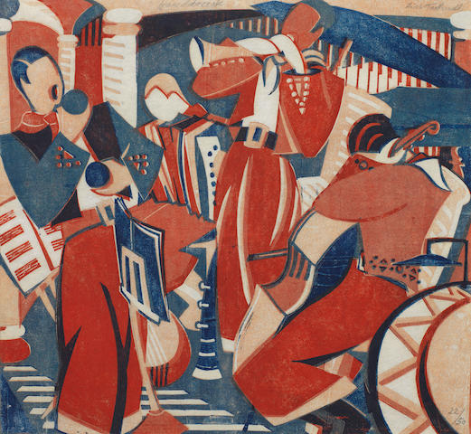 Lill Tschudi (Swiss, 1911-2001) Rumba Band II Linocut printed in dark blue, red and orange beige, 1936, a richly inked and crisp impression, on white oriental laid, signed, numbered 22/50 and inscribed 'Handdruck' in pencil, additionally titled in pencil in lower margin, with margins, 258 x 278mm (10 1/8 x 10 7/8in) (B)(unframed)