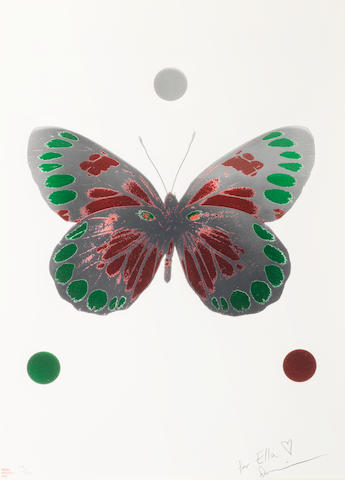 Damien Hirst (British, born 1965) Butterfly Foil block print in colours, 2010, on wove, signed, numbered 107/150 and inscribed 'For Ella' in pencil, stamped 'Happy Christmas 2010', published by Other Criteria, London, with full margins, 725 x 505mm (28 1/2 x 20in)(SH)