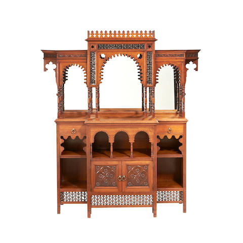 A late Victorian Moorish style teak sideboard retailed by Liberty & Co.