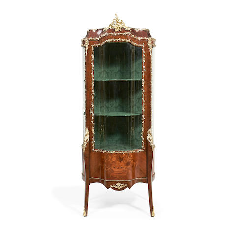 A French late 19th/early 20th century kingwood and marquetry serpentine vitrine in the Louis XV style
