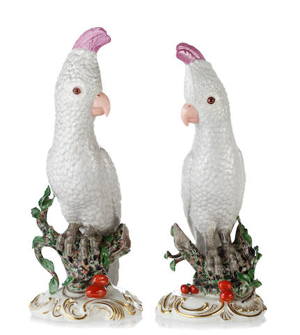 A pair of Nymphenberg models of cockatoos,