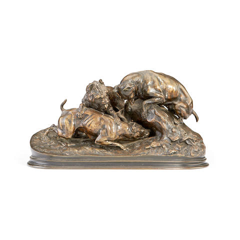 Pierre-Jules Mêne, French (1810-1879) A bronze model of a hunting scene Chasse au Lapin