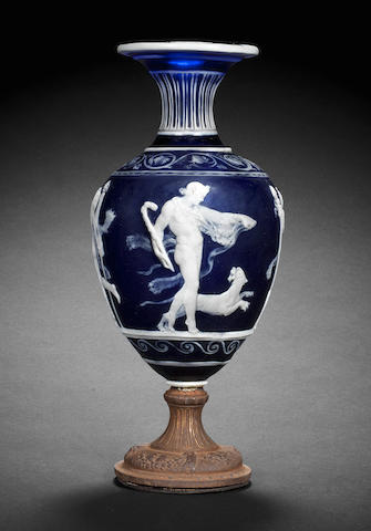 A Spaccarelli Venetian blue cameo glass vase with replacement gilt-metal foot, dated 1887