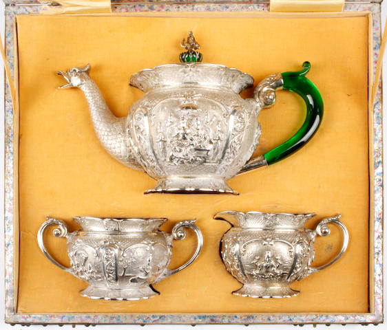 An Indian silver coloured three piece tea set