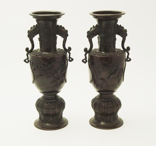 A pair of bronze vases Meiji