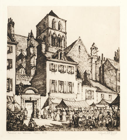 Cyril Edward Power (British, 1872-1951) Marché au Beurre, Caen Drypoint printed with plate tone, on wove, signed, titled and numbered 13 in pencil, with margins, 251 x 225mm (10 x 8 7/8in)(PL)