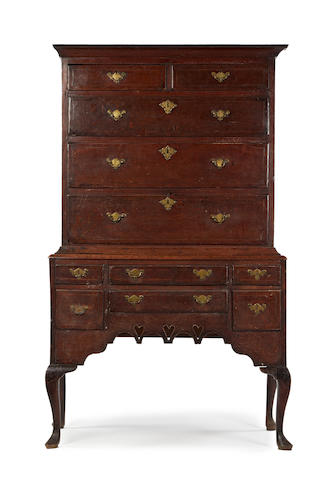 A George II oak and line inlaid chest on stand, Welsh Glamorgan, circa 1750