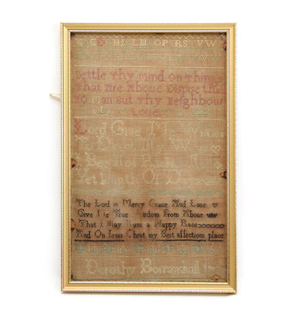 A George II framed sampler