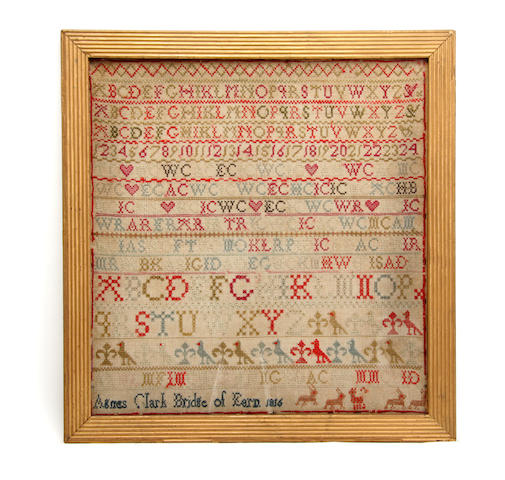 A George III framed sampler