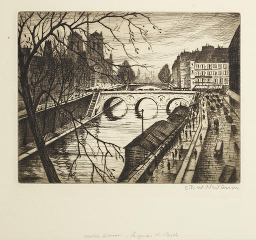 Christopher Richard Wynne Nevinson A.R.A. (British, 1889-1946) Notre Dame, les Quais de Paris Etching printed with tone, 1931, on laid, signed in pencil, from the edition of 75, with full margins, 145 x 187mm (5 3/4 x 7 1/2in)(PL)