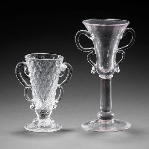 Two rare glasses with 'double B' handles, circa 1730-40