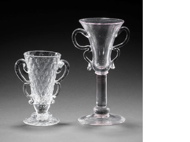 Two glasses with double B handles